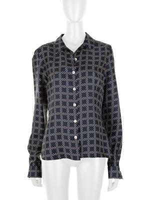 Dotted Navy Silk Shirt by Christian Dior - Le Dressing Monaco
