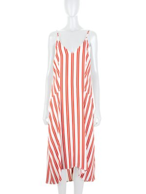 Strappy Striped White and Red Dress by Balenciaga - Le Dressing Monaco