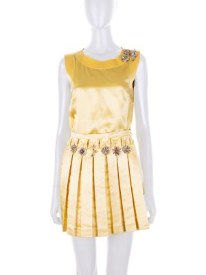 Yellow Ensemble Embroidered Crystals by Ermanno Scervino - Le Dressing Monaco