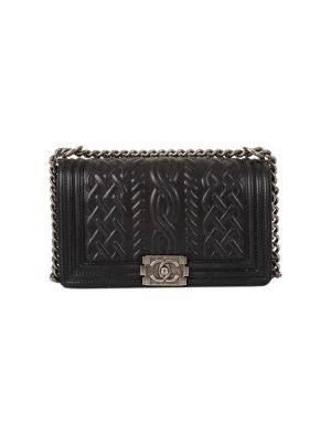 Braided Black Leather Boy Bag by Chanel - Le Dressing Monaco