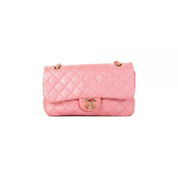 Iridescent Pink Leather Flapbag by Chanel - Le Dressing Monaco