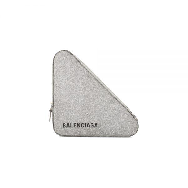 Triangle Silver Glitter Clutch by Balenciaga - Le Dressing Monaco
