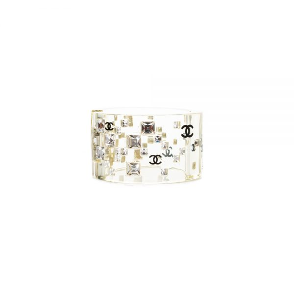 Transparent Plastic Manchette With Strass by Chanel - Le Dressing Monaco