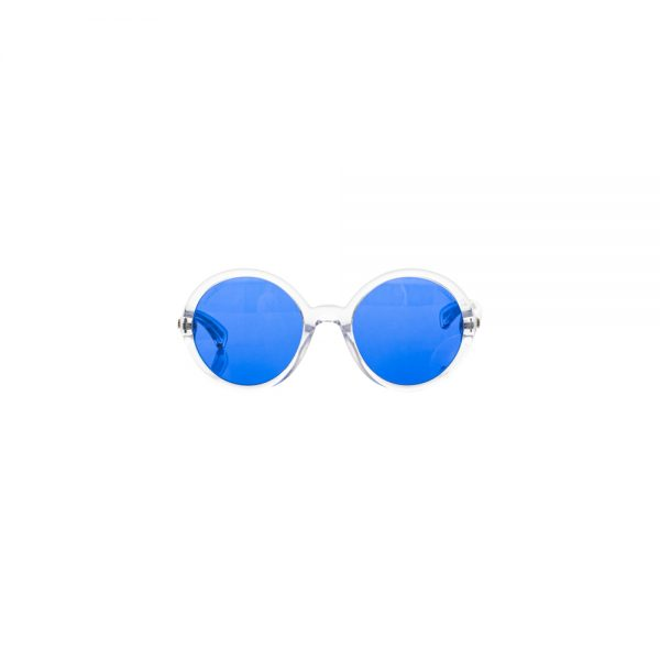 Round Blue Sun Glasses Transparent Frame by Chanel - Le Dressing Monaco