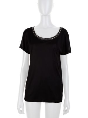 Black Studded Collar Silk Top by Saint Laurent - Le Dressing Monaco