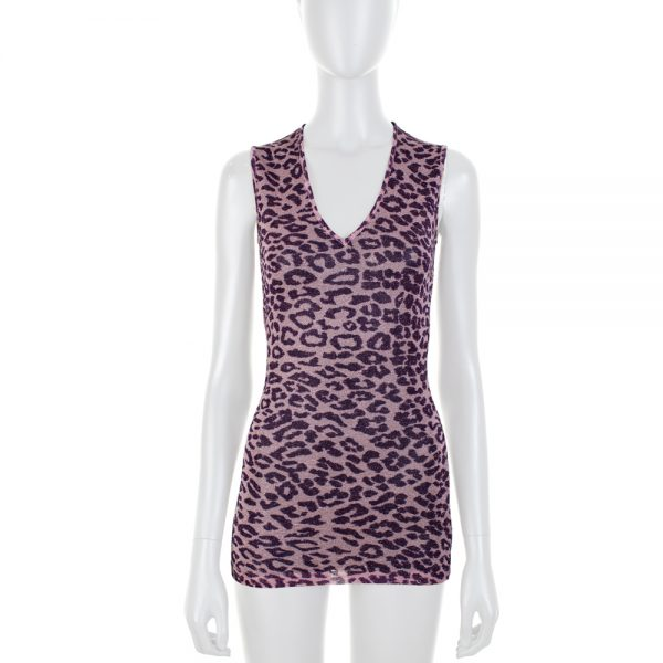 Pink Lurex Leopard Sleeveless Top by Dolce e Gabbana - Le Dressing Monaco