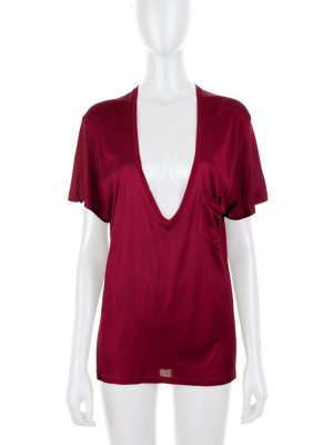 Burgundy Deep Cleavage Silk Top by Saint Laurent - Le Dressing Monaco