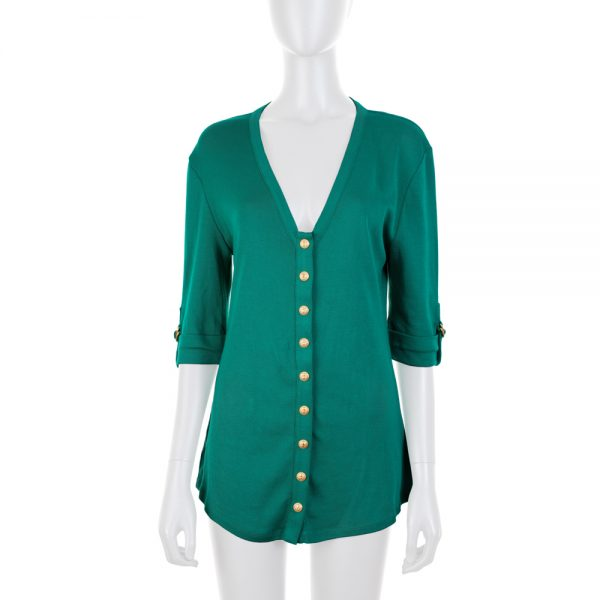 Short Sleeved Green Knitted Cardigan by Balmain - Le Dressing Monaco