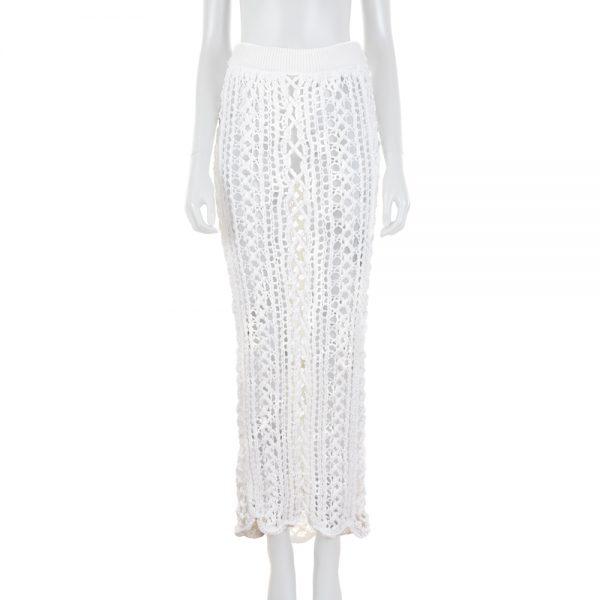 Knitted White Long Skirt by Balmain - Le Dressing Monaco