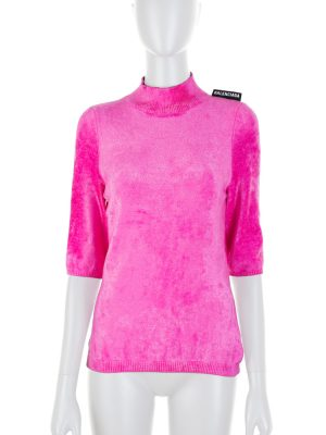 Fitted Fuschia Soft Short Sleeved Top by Balenciaga - Le Dressing Monaco