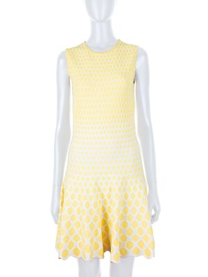 Yellow Knitted Honeycomb Dress by Alexander McQueen - Le Dressing Monaco