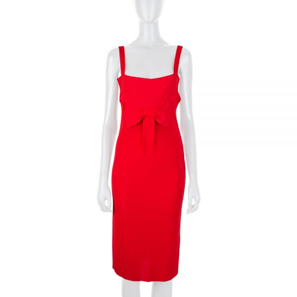 Knitted Red Strappy Dress With Bow by Valentino - Le Dressing Monaco