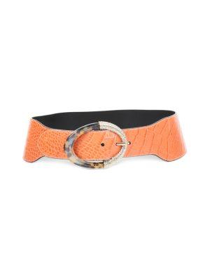 Apricot Lizard Belt Strass Buckle by Valentino Garavani - Le Dressing Monaco