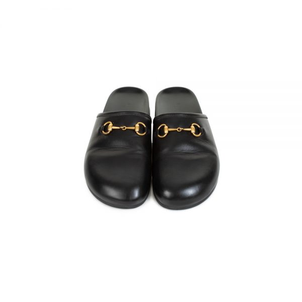 Black Leather Slippers by Gucci - Le Dressing Monaco