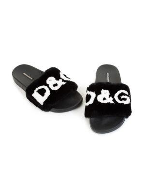 Black Fur D&G Flip Flops by Dolce & Gabbana - Le Dressing Monaco