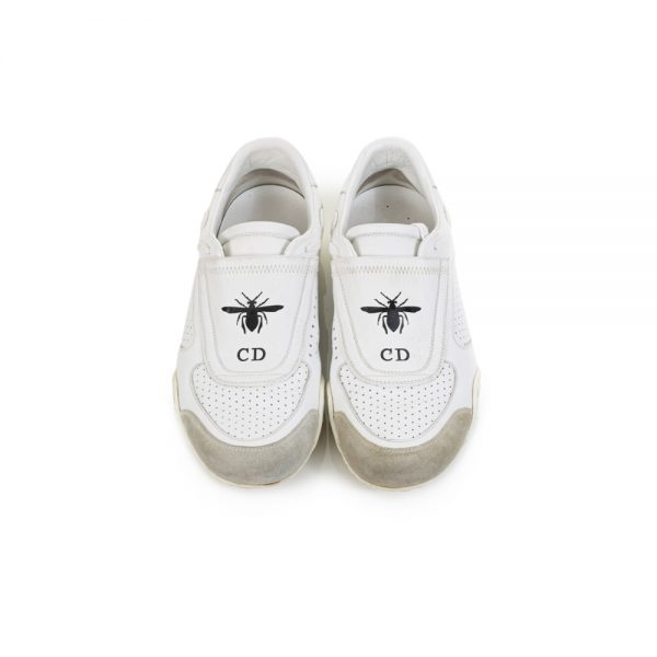 White Slip In Leather Sneakers by Christian Dior - Le Dressing Monaco