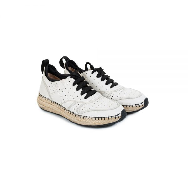 Off White Leather Sneakers Natural Fibers Sole by Tod's - Le Dressing Monaco