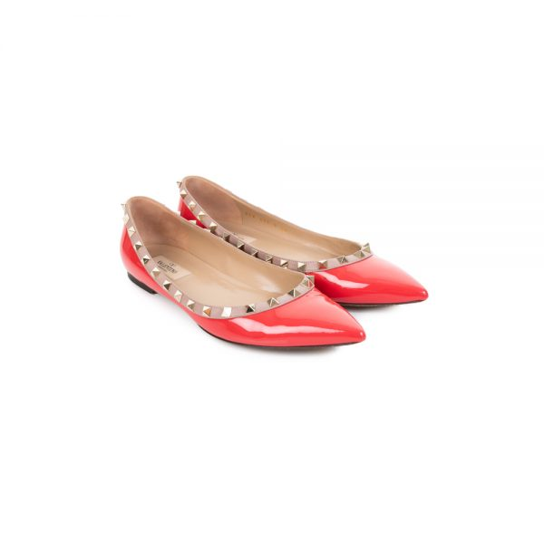 Red Patent Rockstud Ballerina Flats by Valentino - Le Dressing Monaco