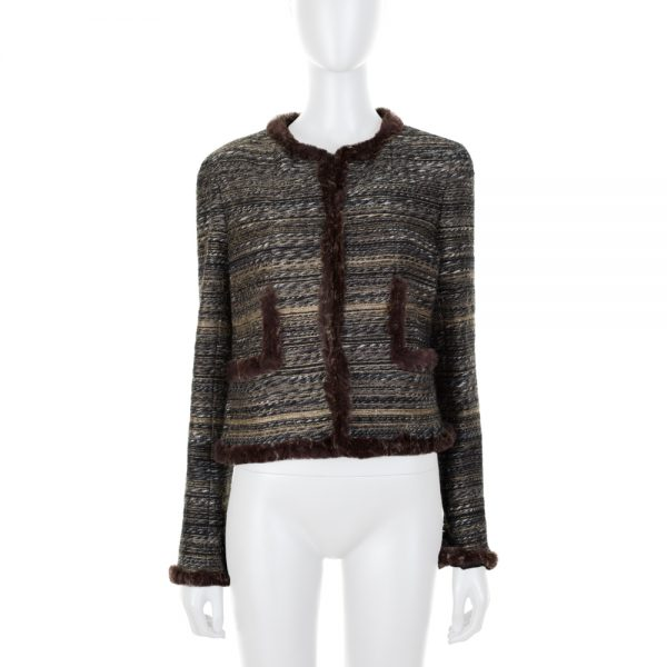 Tweed Jacket With Fur Details by Chanel - Le Dressing Monaco