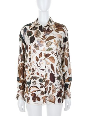 Leaves Print Long Sleeved Silk Shirt by Hermès - Le Dressing Monaco