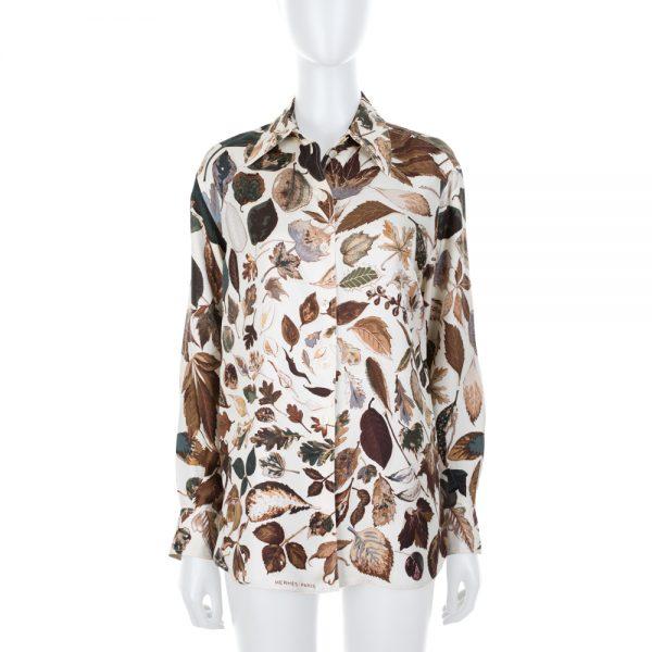 Leaves Print Long Sleeved Silk Shirt by Hermès - Le Dressing Monaco