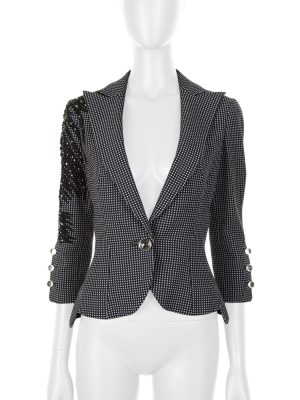 Short Navy Embroidered Jacket by Emporio Armani - Le Dressing Monaco
