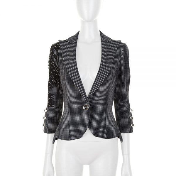 Short Navy Embroidered Jacket by Emporio Armani - Le Dressing Monaco