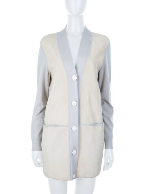 Off-White Suede and Virgin Wool Cardigan by Hermès - Le Dressing Monaco