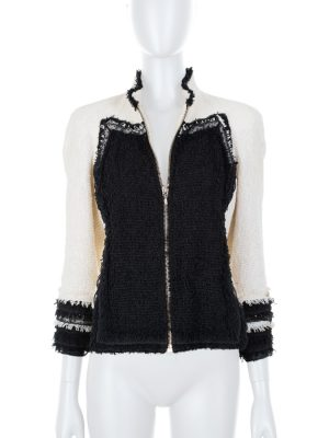 Bicolor Zipped Tweed Jacket with Lace by Chanel - Le Dressing Monaco