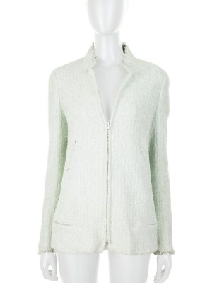 Pastel Green Zipped Bouclé Jacket by Chanel - Le Dressing Monaco