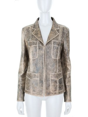 Crackled Effect Leather Jacket by Chanel - Le Dressing Monaco