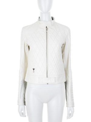 Biker Style White Leather Jacket by Christian Dior - Le Dressing Monaco