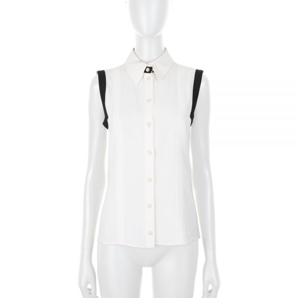 Black and White Sleeveless Shirt by Chanel - Le Dressing Monaco