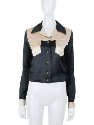 Short Bicolor Silk Jacket by Chanel - Le Dressing Monaco