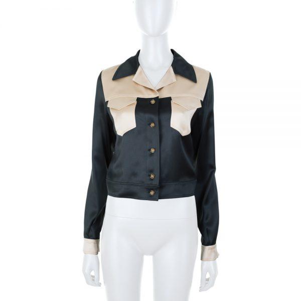 Short Bicolor Silk Jacket by Chanel - Le Dressing Monaco