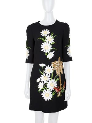 Black Dress With Embroidered Daisies by Dolce e Gabbana - Le Dressing Monaco