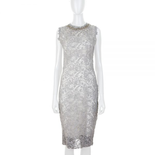 Grey Wool Lace Crystals Pencil Dress by Ermanno Scervino - Le Dressing Monaco