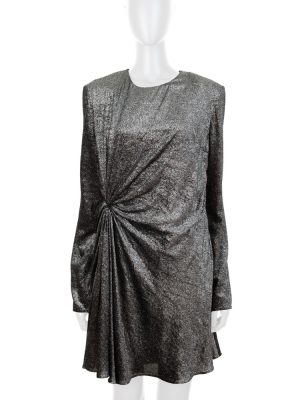 Metallized Silver Velvet Long Sleeved Dress by Saint Laurent - Le Dressing Monaco