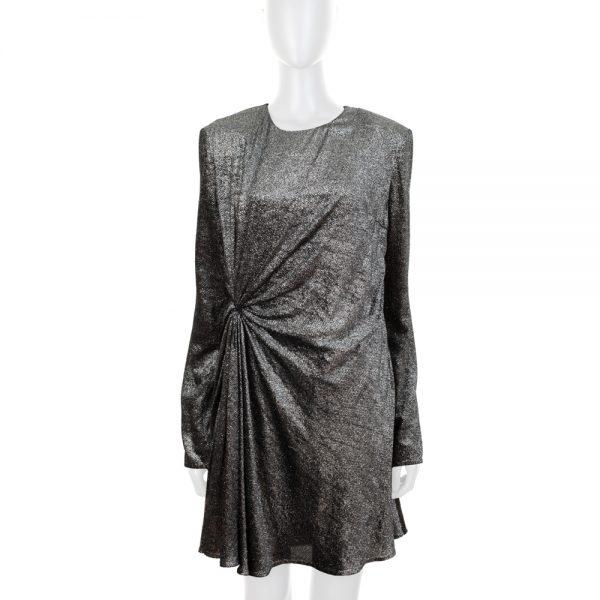 Metallized Silver Velvet Long Sleeved Dress by Saint Laurent - Le Dressing Monaco