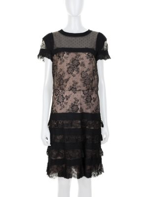 Black and Nude Short Sleeved Lace Dress by Valentino - Le Dressing Monaco
