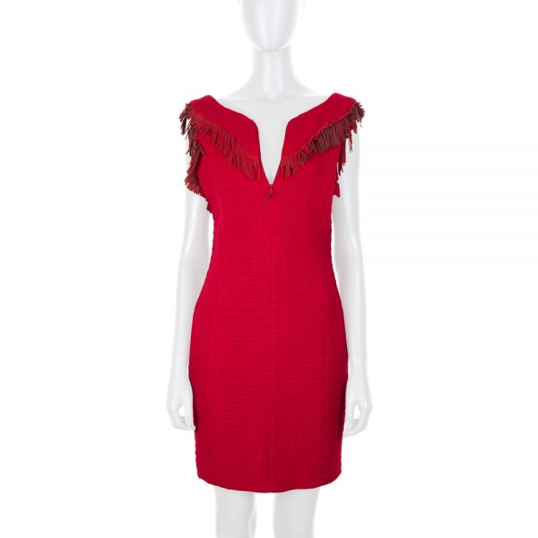 Red Tweed Front Zip Fringed Pencil Dress by Chanel - Le Dressing Monaco