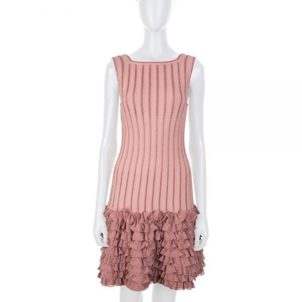 Old Pink Sleeveless Ruffled Dress by Alaia - Le Dressing Monaco