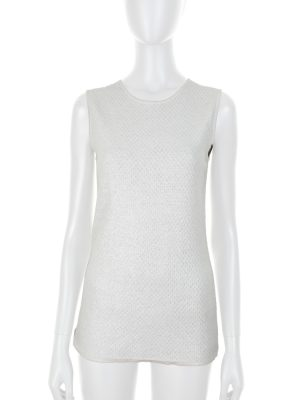 Knitted Silver Sleeveless Top by Chanel - Le Dressing Monaco