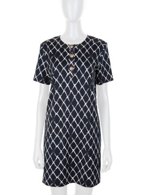 Diamond CC Print Blue Cotton Dress by Chanel - Le Dressing Monaco
