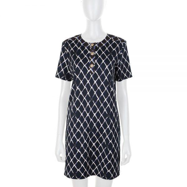 Diamond CC Print Blue Cotton Dress by Chanel - Le Dressing Monaco