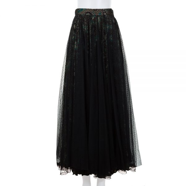 Long Printed Skirt With Black Tulle by Giorgio Armani - Le Dressing Monaco