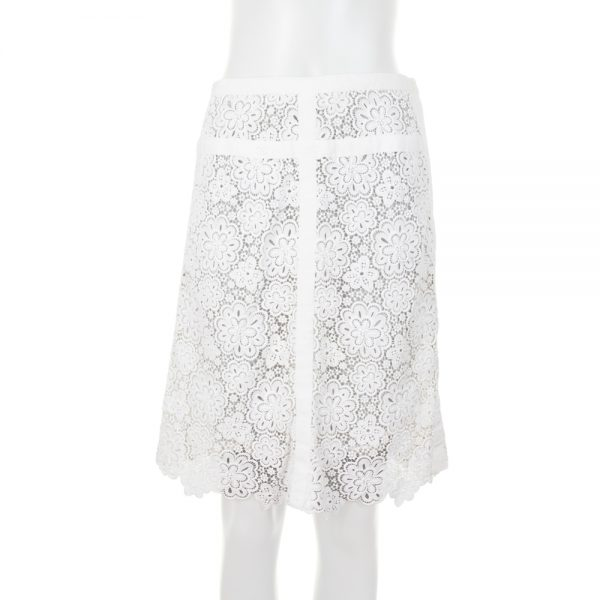 White Lace Straight Skirt by Chanel - Le Dressing Monaco