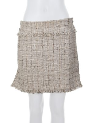 Beige Zipped Sides Lurex Detail Skirt by Chanel - Le Dressing Monaco