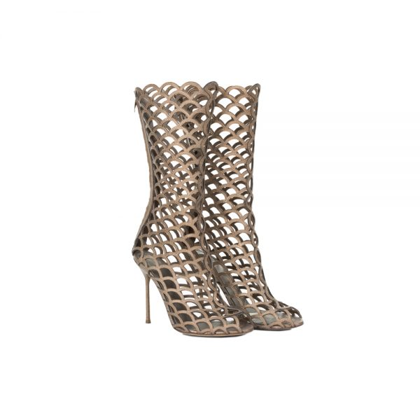 Bronze Laser Cut High Heel Boots by Sergio Rossi - Le Dressing Monaco