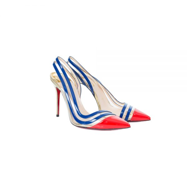 Open Heel Patent Leather Pumps by Christian Louboutin - Le Dressing Monaco
